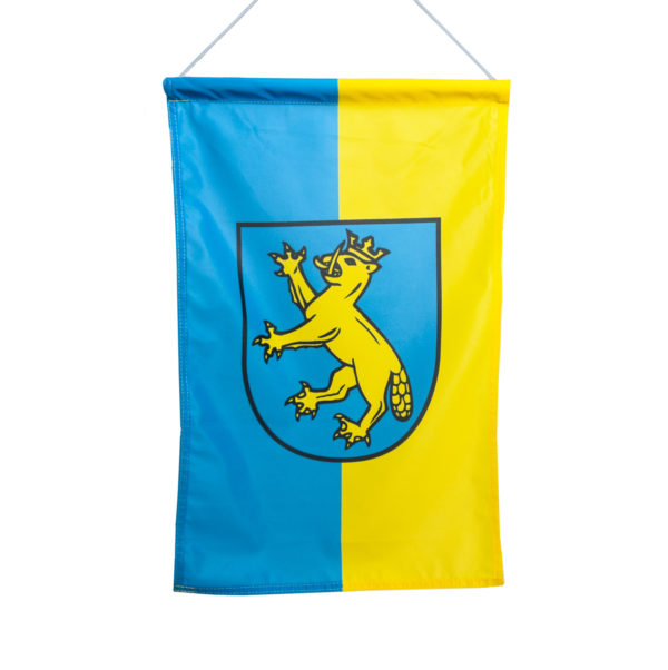 Fahne, Bannerfahne, Stofffahne, blau gelb, Wappen, Stoff, Deko, Biberach Schützenfest, Schneiders Schützen-Shop