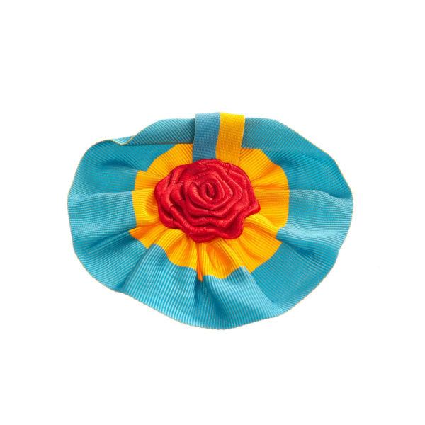 Anstecker blau gelb rund Rose Biberach Schützen Shop Schützenfest