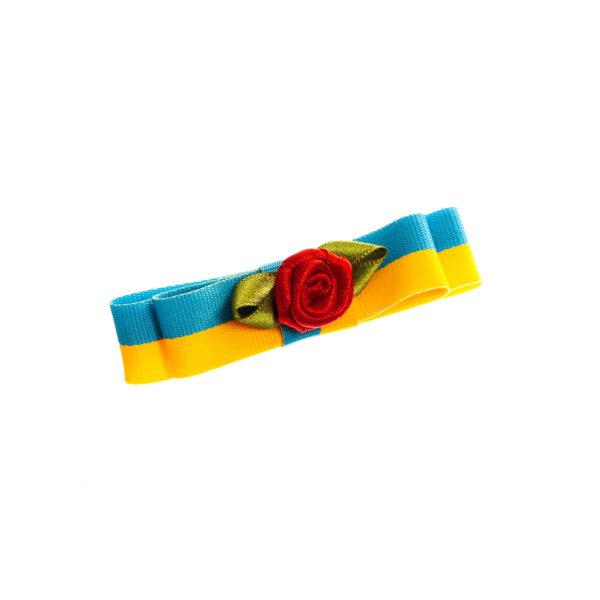 Anstecker blau gelb quer Rose Biberach Schützen Shop Schützenfest