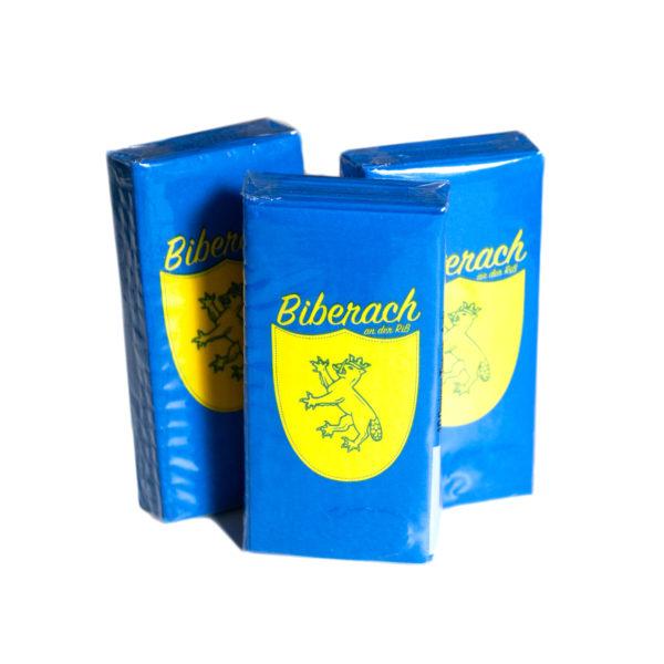 Servietten, blau gelb, Wappen, Geschenk, Geburtstag, Deko, Biberach Schützenfest, Schneiders Schützen-Shop