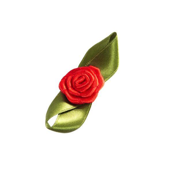 Rose Satin flach gross mit Blatt Biberach Schützen Shop Schützenfest