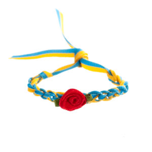 Armband blau gelb gehäkelt klein Biberach Schützen Shop Schützenfest
